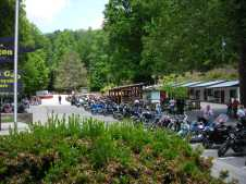 Part of the parking lot at Deal's Gap.
