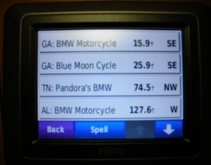 BMW Motorcycle dealer POI listing.
