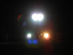4W bright white LED on left, 50W halogen on right and the HID low beam above.