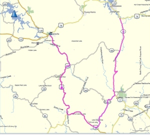 The route taken by the two BMW K1200LT motorcycles today.