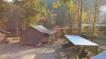 The morning sun coming up over the ridge at the Iron Horse.