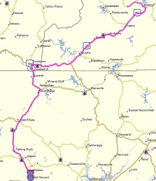 Our route to Robbinsville, near the Iron Horse.