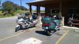A pair of K1200LTs at lunch.