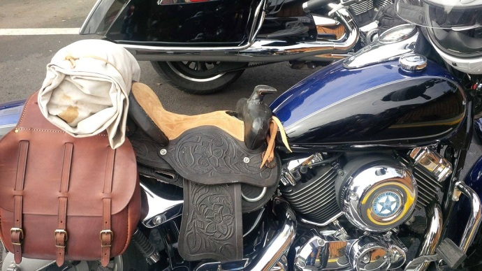 """""""Doc"""", a retired U.S. Marshal, now has a saddle on his motorcycle."""