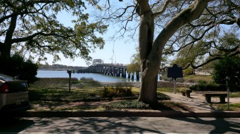 Lady's Island bridge seen from the residential end of Bay ST in Beaufort, SC.