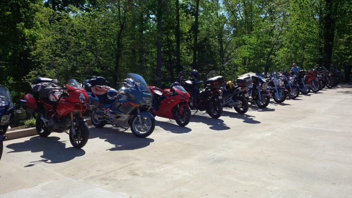 "Part of the parking lot at Rider's Hill this morning for ""Pancakes on the Porch""."