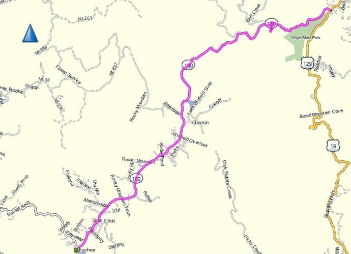 Wolf Pen Gap RD between Georgia HWY 60 and US HWY 129.