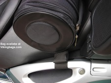 Closeup of left side attachment of roll bag.