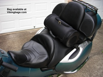 Viking Bags roll bag on back seat of BMW K1200LT.