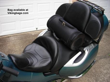 Viking Bags roll bag on back seat of BMW K1200LT.