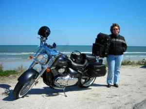 Donna with the C50T in Flagler Beach, FL on our way to Bike Week in 2007.