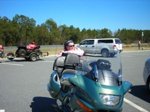 Donna with the Magic Carpet at the Florida Welcome Center on the way to Bike Week in 2010.