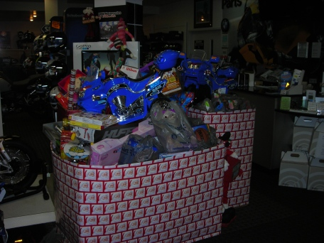 Two motorcycle sized toy boxes